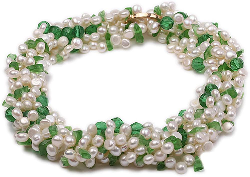 JYX Pearl Necklace Multi-Strand 4-5mm Freshwater Pearl Necklace with Green Crystal Beads for Women 17