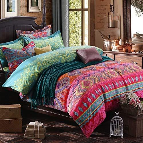 USTIDE 3-Piece King Size Bohemian Duvet Cover Set 100% Cotton Bedding 1 Duvet Cover & 2 Pillowcase, 230cm x220 cm