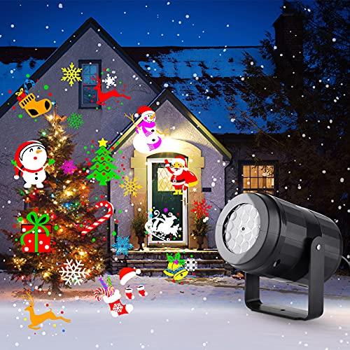 Lovebay Projecteur Noel Exterieur, LED Lampe Projecteur avec 16 Dynamique motifs, Lumière Decoration Noel, Eclairage de Noël pour Interieur Fête Christmas Halloween Nouvel An Étape
