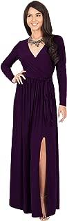 Womens Long Sleeve V-Neck Cross Over High Slit Cocktail Evening Gown Maxi Dress