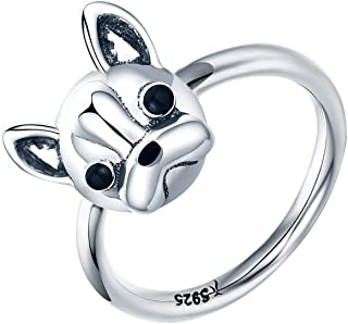 Bulldog Sterling Siver Ring Cute Birthday Gift for Girls and Mother's Day