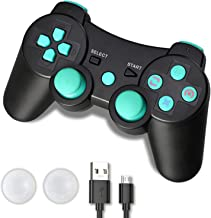 PS3 Controller, PS3 Controller Wireless, PS3 Remote, CFORWARD 1Pack Wireless Rechargeable Gamepad Dual Vibration Remote Joystick Compatible for Playstation 3 (PS3 Lake Blue)