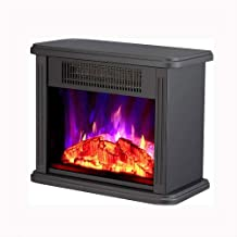 LMDH Mini chimenea eléctrica de sobremesa calentador portátil, marco de metal Negro, calentador de sitio, Calentador