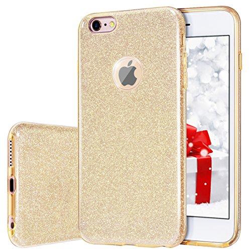 MILPROX iPhone 6s Plus Hülle, Glitzer-Schutzhülle schützende Hülle, kompatibel mit iPhone 6 Plus-Gold