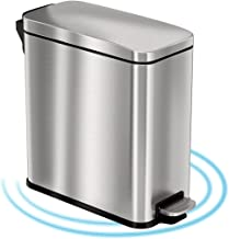 iTouchless SoftStep 3 Gallon Slim Bathroom Step Trash Can with AbsorbX Odor Filter & Removable Inner Bucket, Pedal Stainle...