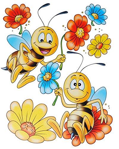 alles-meine.de GmbH 1 Bogen: Fensterbild -  lustige Tiere  - statisch haftend - Frosch - Blumen - Bienen - Schmetterling - Sticker Fenstersticker / z.B. für Fenster und Spiegel..