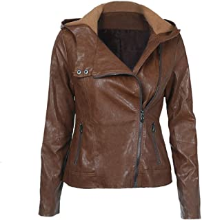 Women's Leather Jacket, Fashionable Warm Slim Fit Hooded Long Sleeve Zipper Solid Color Lapel Pu Leather Jacket,L