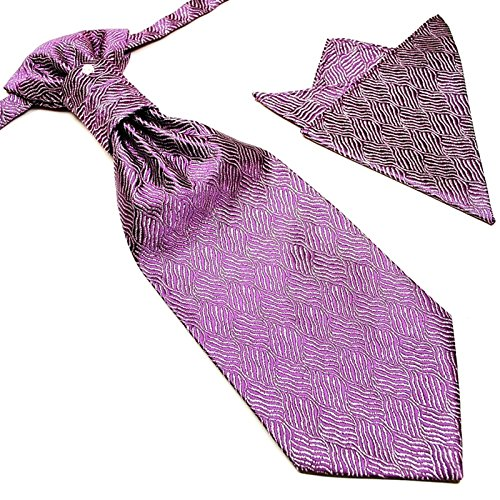 GASSANI 3- SET Plastron   Violette breite Krawatte & Einstecktuch   Binder zum Anzug Verlobung Hochzeit   Hochzeitskrawatte fertig gebunden