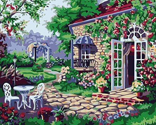 Wdsjxd Pintura por números adultos DIY lienzo Resto casa con hermoso jardín para principiantes niños pintura 40x50cm
