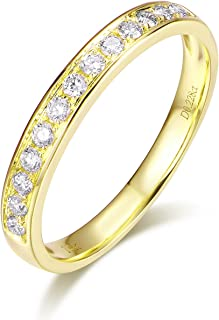14K Solid Gold Micro Pave Round Diamond Dainty Eternity Wedding Band Ring for Women and Girls