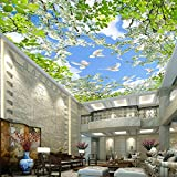 Wallpaper Mural 3D Blue Sky White Clouds Pigeon Green Leaves Hd Living Room Bedroom Ceiling Art Wallpaper Mural-250X175cm