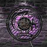 fdgdfgd Diseño Reloj Caña de Pescar Caza Boca Grande Pescado Disco de Vinilo Reloj de Pared Regalo de Decoración de Pescador   Regalo Hecho a Mano conmemorativo de cumpleaños