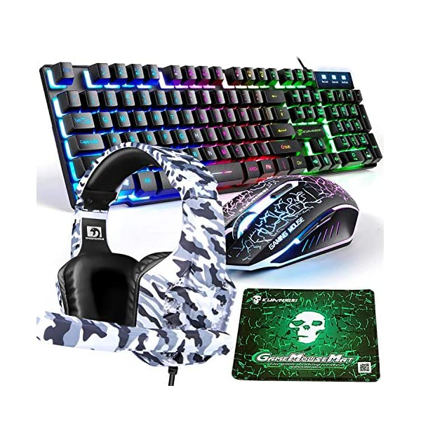 Gaming Keyboard and Mouse,4 in 1 Gaming Combo