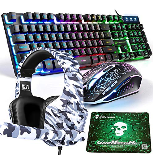 Gaming Keyboard and Mouse,4 in 1 Gaming Combo,Rainbow LED Backlit Wired Keyboard,2400DPI 6 Button Optical Gaming Mouse,Gaming Headset,Gaming Mouse Pad for PC Gaming(Black)