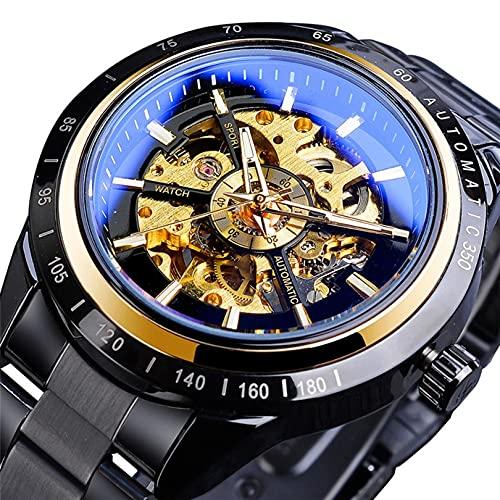 Excellent Herrenuhr, mechanisches Edelstahl-Skeleton wasserdicht automatischer, selbstwindender Armbanduhr leuchtende Hände,A02