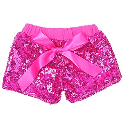 Cilucu Baby Girls Shorts Toddler Sequin Shorts Sparkles on Both Sides Hot Pink 5T