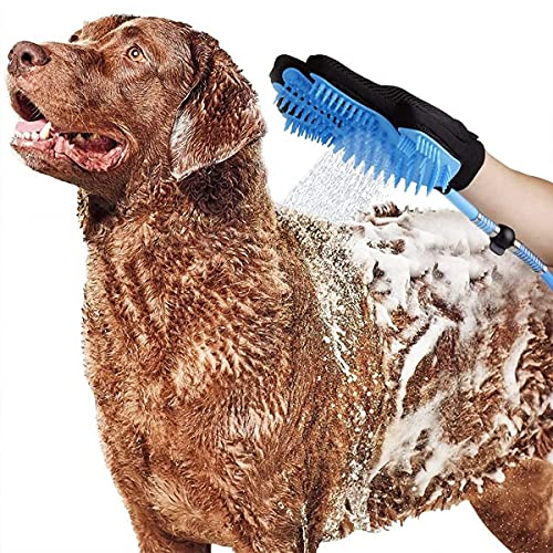 Abhsant Pet Automatic Water Spray Shower Gloves, Dog Shower Sprayer Shampoo Beauty Gloves with 3 Faucet Adapters, Suitable for Indoor and Outdoor Use Cats and Dogs