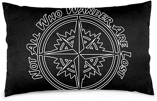 HBWUYZU T Not All Who Wander Are Lost Oblong Decorative Pillow Case Cushion Cover For Lumbar Pillowcase 14 20 30 Inches