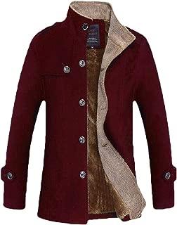 Mens Stand CollarJacket Casual Fleece Lined Warm Coat Cotton Outwear Overcoats Jacket