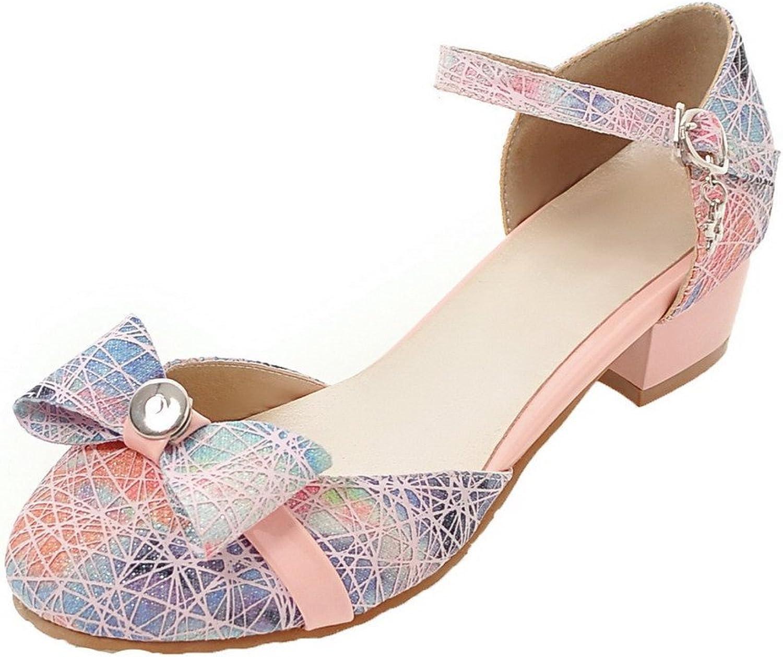 WeenFashion Women's Buckle Blend Materials Round-Toe Low-Heels Pumps-shoes