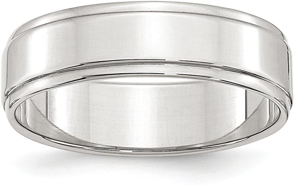 Solid Over item handling ☆ 925 Sterling Silver 6mm Flat with Step Wedding Band Edge Luxury