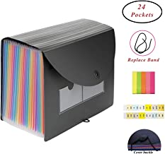 QUTAWAY Expanding File Folder 24 Pockets Accordion File Organizer with Cover New Version A4 Plastic Portable File Filing Document Holder Wallet with Lid (Rainbow, Updated Cover