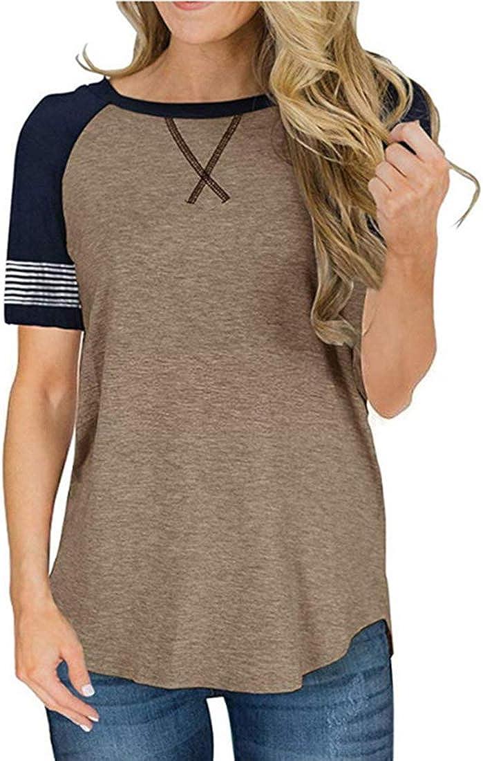 DKKK Women's Round Neck Short Sleeve Casual Shirt Color Block Tunics Blouse Tops