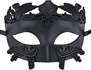 COAFIT Egyptian Mens Masquerade Half Face Ancient Greek and Roman Style Venetian Mask for Ball - Black