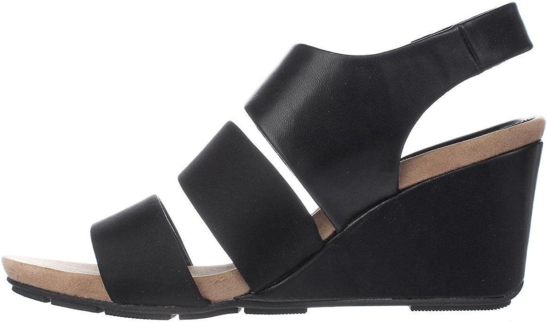A35 Elleana Strappy Wedge Sandals, Black, 8 US