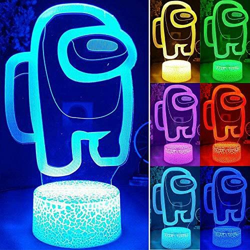 Juego De Amigos Among Us 3D Illusion Desktop Lámpara De Escritorio Decoración De La Mesa De Café LED Luces del Sensor, Base De La Lámpara De Lava con Alimentación USB 7 No Remoto