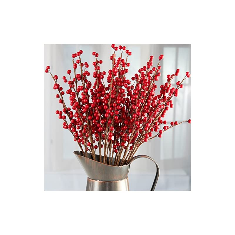 silk flower arrangements 24 rich red artificial berry stems - decorative wire stem branch sprays for christmas tree decoration, holiday decorating, flower arrangements and diy crafts