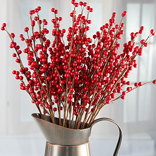 24 Rich Red Artificial Berry Stems - Decorative Wire Stem Branch Sprays for Christmas Tree Decoration, Holiday Decorating, Flower Arrangements and DIY Crafts