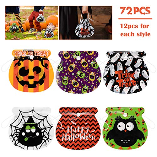 Amosfun Halloween Drawstring Goody Bags 72PCS Assorted Trick or Treat Candy Bags for Kids Party FavorsTreat Gift BagsSnacks Candy BagHalloween Party Supplies