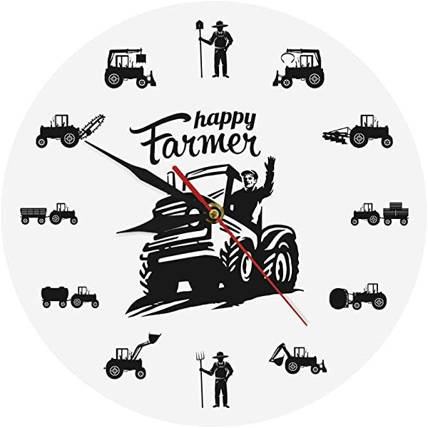 Llsmting Happy Farmers Agricultural Machines Tractors Modern Wall Clock Suitable For Living Room Farming Harvest Family Farmhouse Decor Farmer Tractor Lovers Gift Size 12X12Cm