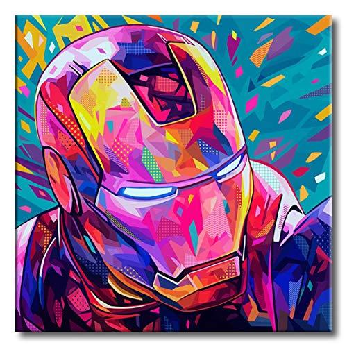 Shukqueen Kit de pintura de diamante 5D para niños principiantes DIY 5D diamante por números, pintura para adultos y manualidades para decoración de la pared del hogar, Iron Man 60 x 76 cm
