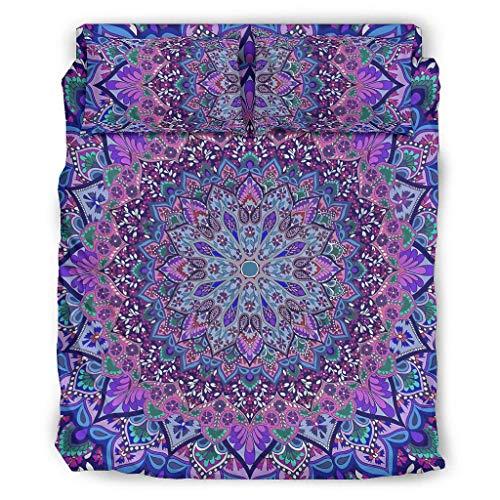 WOSITON Colcha Colcha Colcha Bohemia Fundas de Edredón Ropa de Ropa Europeo Color Oscuro Decorativo Cama Juego de Almohada Blanco 228x264cm