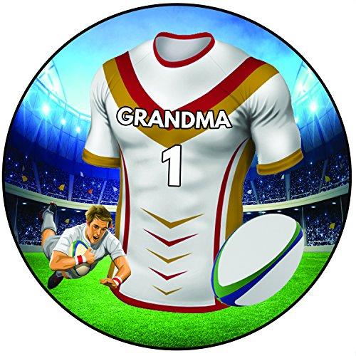 AK Giftshop Rugby Taart Topper 20cm Icing Ronde Decoratie - Catalaanse Draken Kleuren