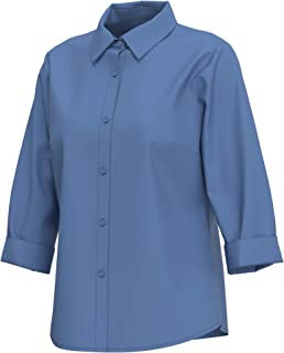 cokuco P1077 Womens Roll Up 3/4 Sleeve Button Down Shirts
