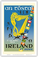 Pacifica Island Art - Ireland - an Tóstal Irish Celebration - KLM Royal Dutch Airlines - Vintage Airline Travel Poster by Auguste Melai c.1953 - Master Art Print - 12in x 18in
