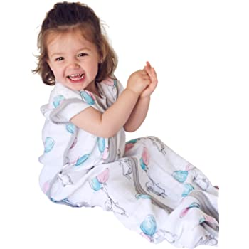 molis & co Muslin Sleeping Bag and Sack, Premium Cotton Breathable Wearable Blanket for Baby, 18-36 Months, 0.5 TOG