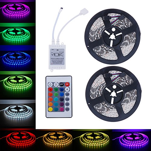 Stasone - Tira de luces LED, 2 x 5 m, cambio de color, con mando a distancia IR de 24 teclas 5050 600 LED SMD flexible tira de luz para el hogar, TV, cocina, decoración de Halloween