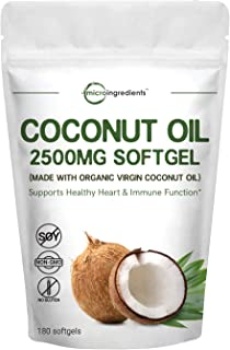 Maximum Strength Organic Virgin Coconut Oil Supplement, 2500mg Per Serving, 180 Softgels, Supports Weight Management, Immune System and Heart Health, No GMO and Made in USA
