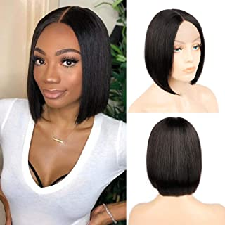 Haha Short Bob Wigs Human Hair Lace Front Wigs Brazilian Straight Human Hair Wigs for Black Women Middle Deep Part 2x6 T Part Lace Bob Wig 10 Inch