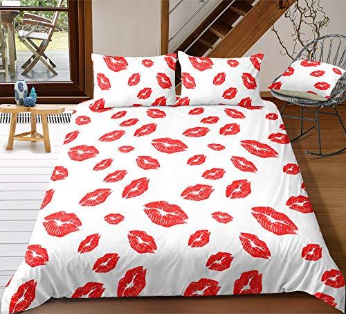 QHDXL Funda Nordica Modernas 200x200 Labios Rojos Blancos Juego de Ropa de Cama 1 Microfibra Funda Nórdica y 2 Fundas de Almohada 50x75,Fundas Nórdicas Suave y Transpirable