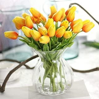 CQURE Artificial Flowers,Fake Flowers Bouquet Silk Tulip Real Touch Bridal Wedding Bouquet for Home Garden Party Floral Decor 10 Pcs (Orange)
