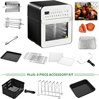 GoWISE USA 12.7-Quart Electric Air Fryer Oven w/Rotisserie and Dehydrator + 11-Piece Accessory Set + Bonus 3-Piece Accessory Set+ 50 Recipes (Silver/Black)