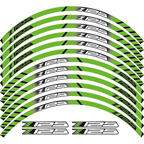 Nuevo 12 tiras de carreras personalidad motocicleta Accesorios rueda Hub Adhesivos reflectantes borde exterior para Z125 Z 125 etiqueta decoración (color: 260021)