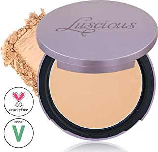 Luscious Cosmetics Velvet Matte Oil Control Pressed Powder Foundation| Vegan and Cruelty Free | Multi-use Foundation & Setting Powder (#3 Medium Tan Beige w/Warm Undertones 0.35oz)