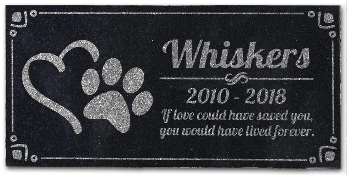 Black Granite 6 x 12 Pet Grave Marker with Personalized Etching