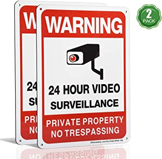Private Property No Trespassing Sign, Video Surveillance Signs Outdoor, UV Printed .040 Mil Rust Free Aluminum 10 x 7 in, Security Camera Sign for Home, Business, Driveway Alert, CCTV